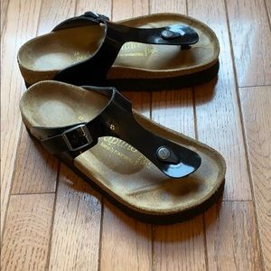 Birkenstock Gizeh Black Papillio Platform Sandals
